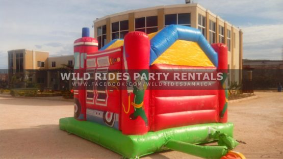 Big Red Fire Truck Inflatable Castle