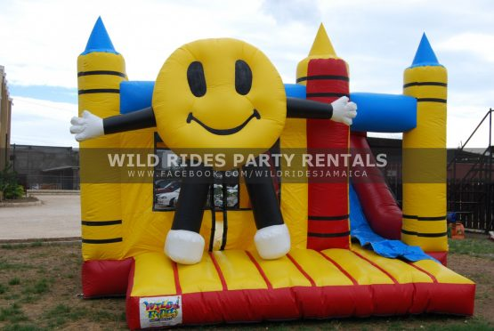 Smiley Face Inflatable Bouncer Castle w/ Dry Slide
