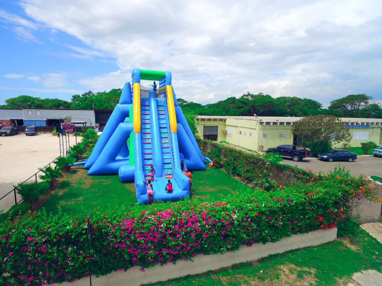 The Hippo 100 Foot Inflatable Water Slide