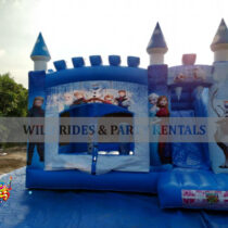 Frozen Bouncer with Slide is ideal for House Parties and Fun Days. Size is 16.4'L x 15'W x 10'H and has weight capacity of 550lbs. Suitable to toddlers up to age 13.