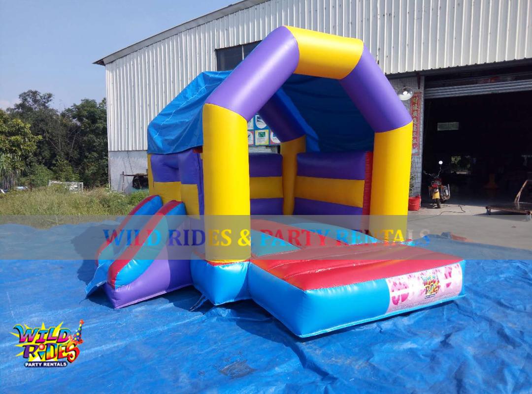 Mini Rainbow Bounce House w/Dry Slide