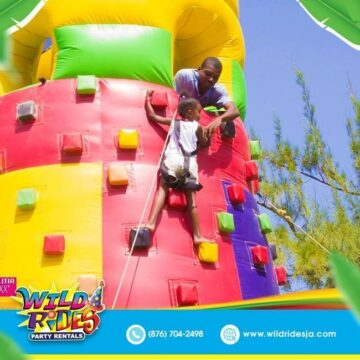 Try to face your fear of heights with this inflatable 360x360 - Try to face your fear of heights with this inflatable rock climber with slide. U...