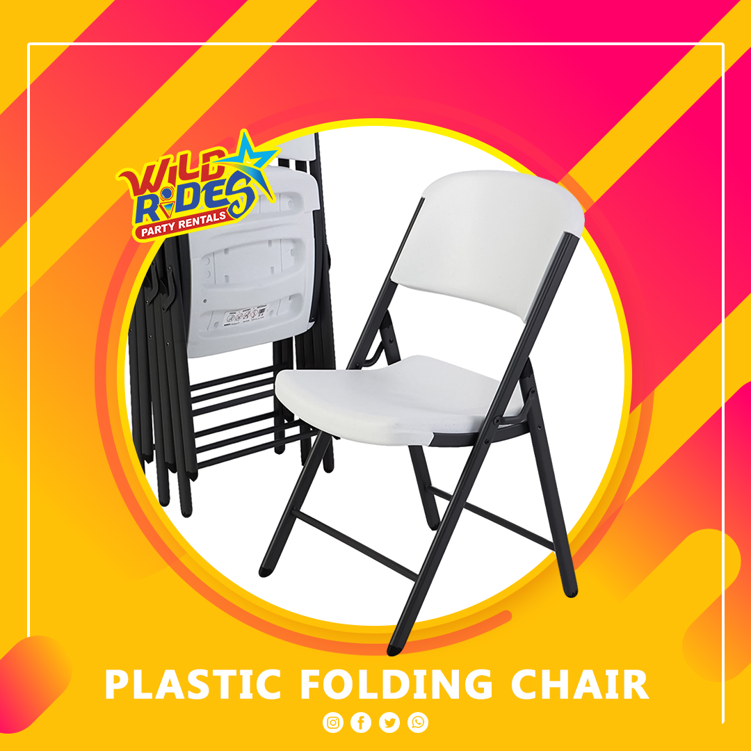 Plastic Folding Armless Chair (White)