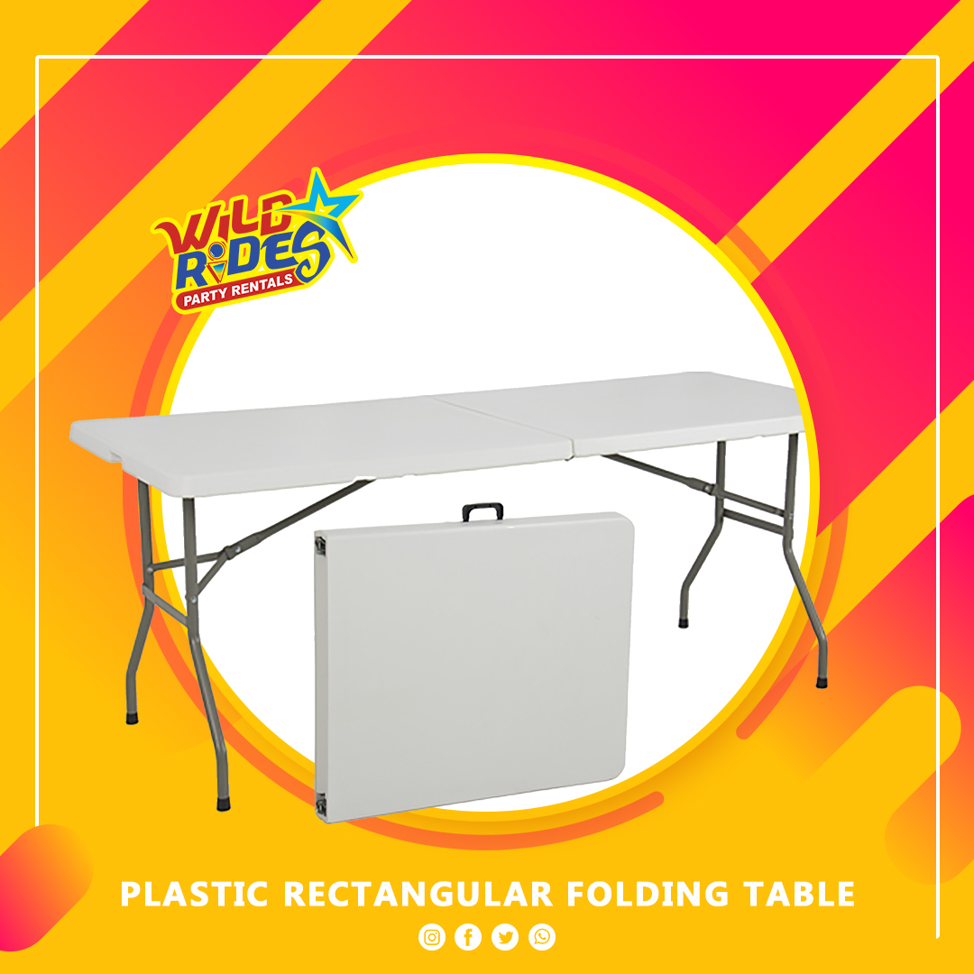 Plastic Folding Rectangular Table (4/6 Seater)