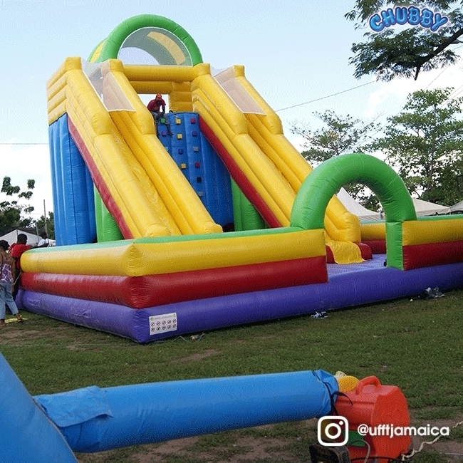 The game is climb to the top and exit through the double lane slide to win, tag