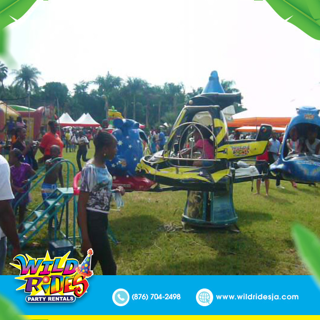 There is never a dull day once our mechanical 4 seater helicopter ride is involv