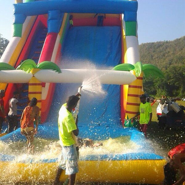 Thirty foot of climb, slip, slide,  splash  and repeat.   Our #bigbad tropical #